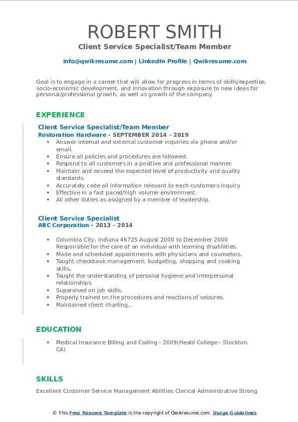 Client Service Specialist/Team Member Resume Sample