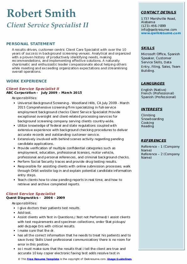 client service specialist resume samples