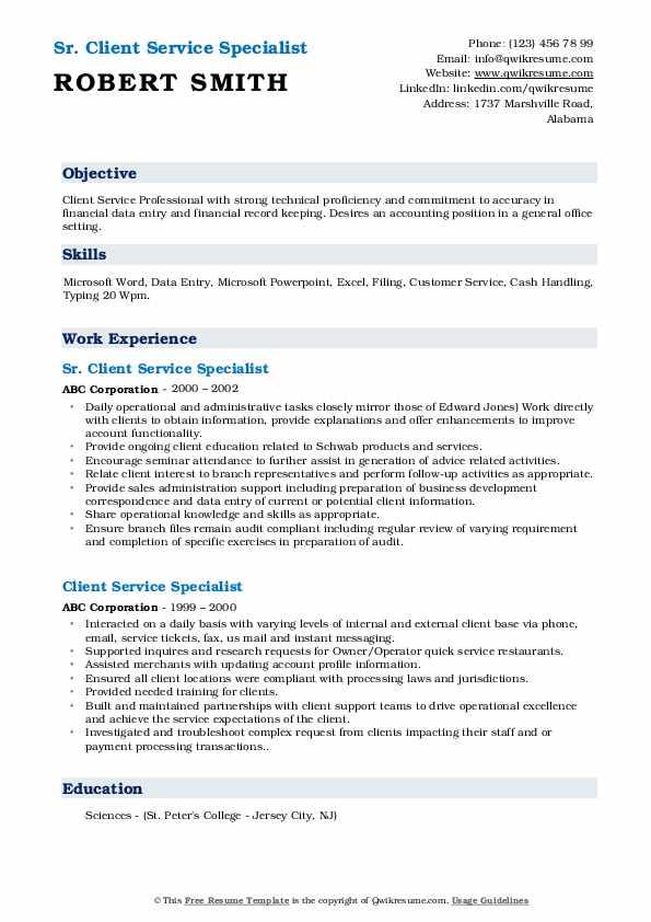 Sr. Client Service Specialist Resume Format
