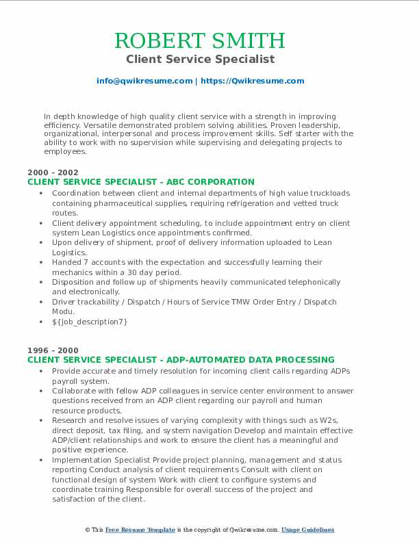Client Service Specialist Resume Format