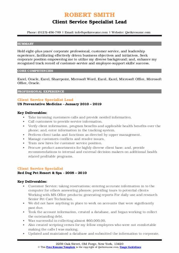 Client Service Specialist Lead Resume Model