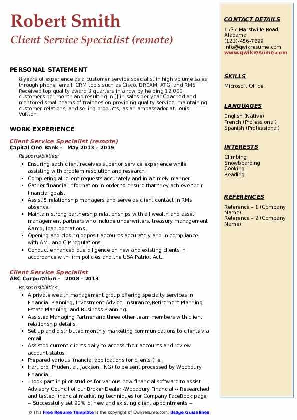 Client Service Specialist (remote) Resume Format