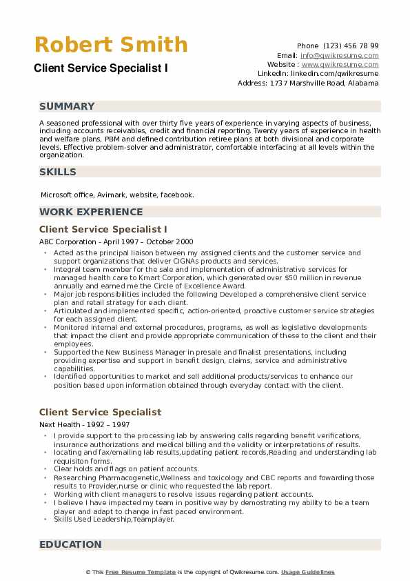 Client Service Specialist I Resume Model