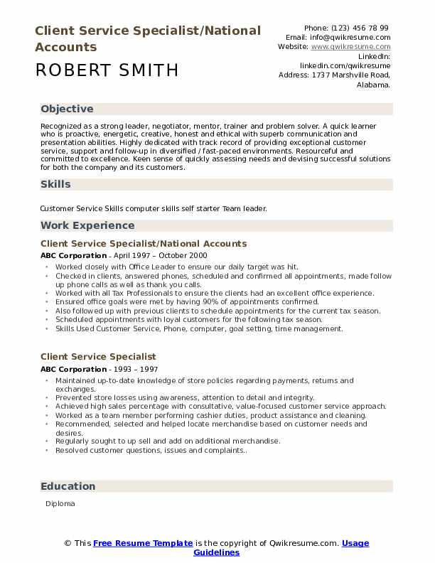 Client Service Specialist/National Accounts  Resume Example