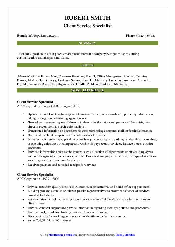 Client Service Specialist Resume example