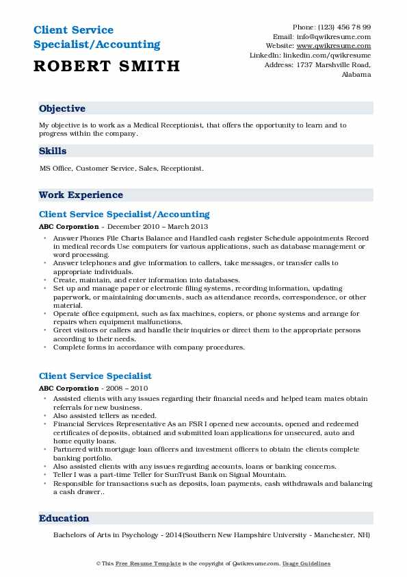 Asst. Client Care Specialist Resume Example