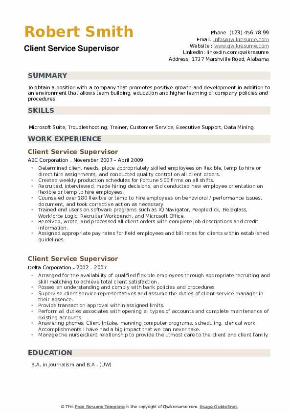 Client Service Supervisor Resume example