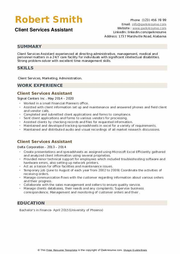 Client Services Assistant Resume example