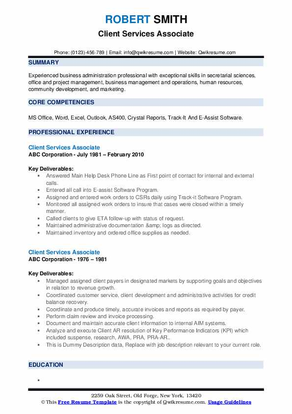 Client Services Associate Resume example