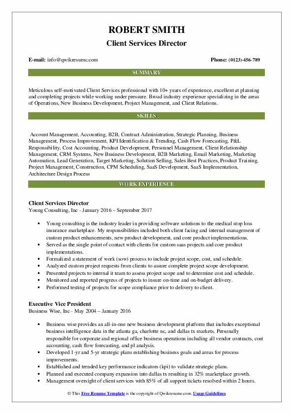 Client Services Director Resume Model