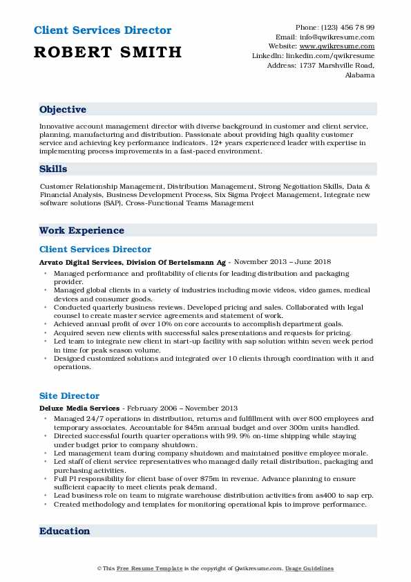 Client Services Director Resume Sample