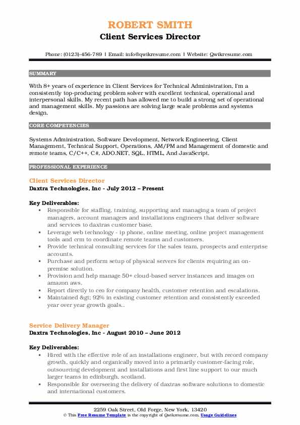 Client Services Director Resume Format