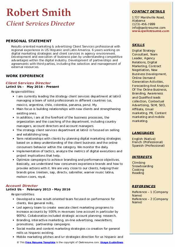 Client Services Director Resume Samples Qwikresume