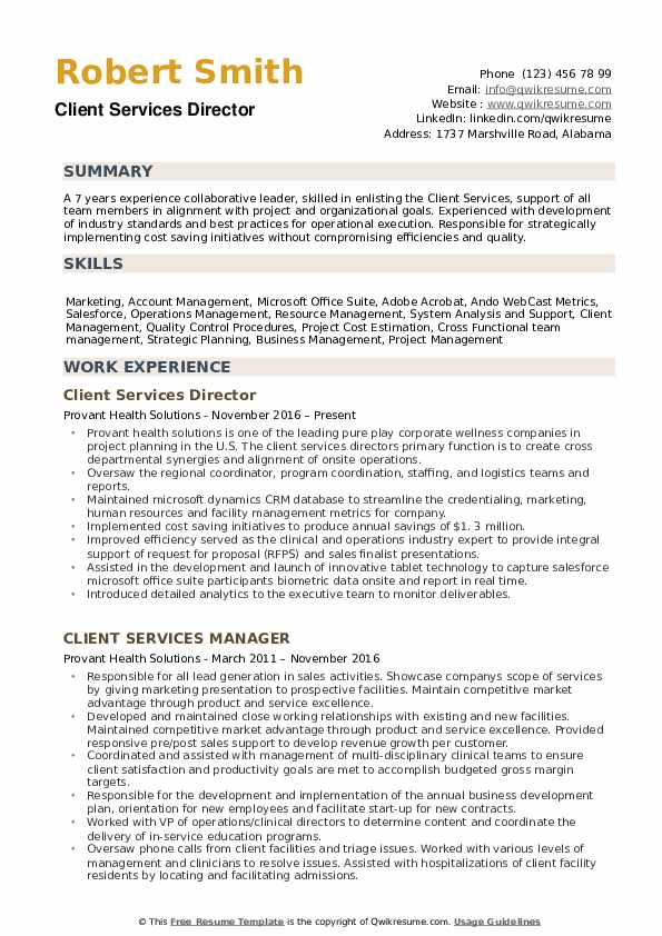Client Services Director Resume example