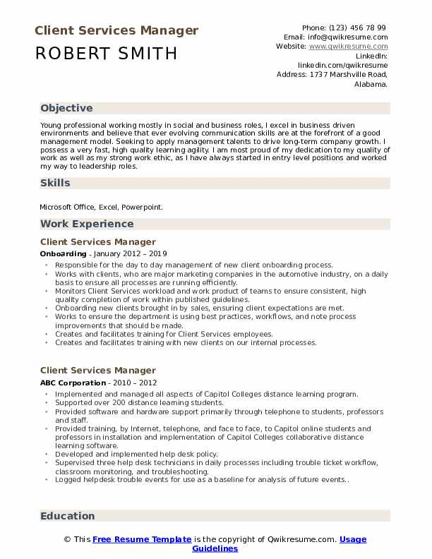 Client Services Manager Resume Sample