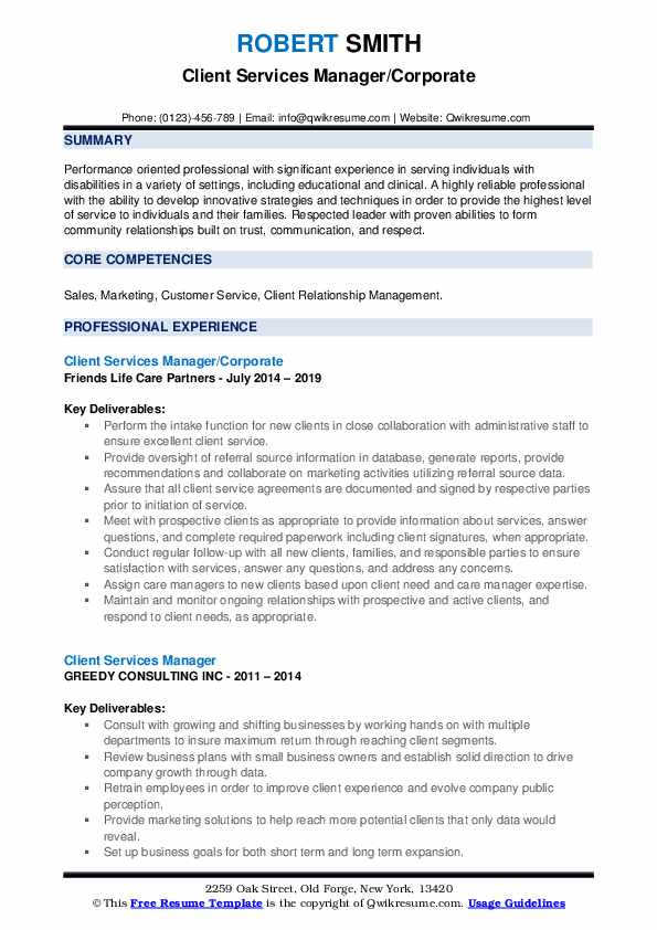 Client Services Manager/Corporate Resume Example