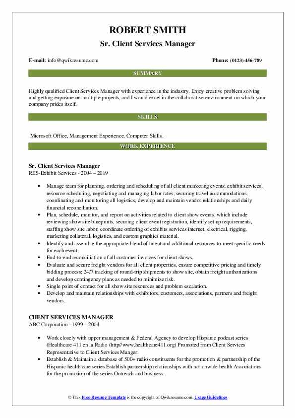 Sr. Client Services Manager Resume Example