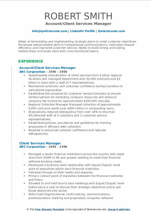 Account/Client Services Manager Resume Model