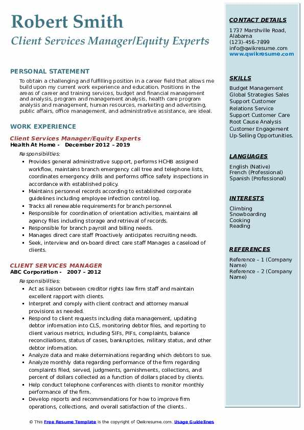 Client Services Manager/Equity Experts Resume Format