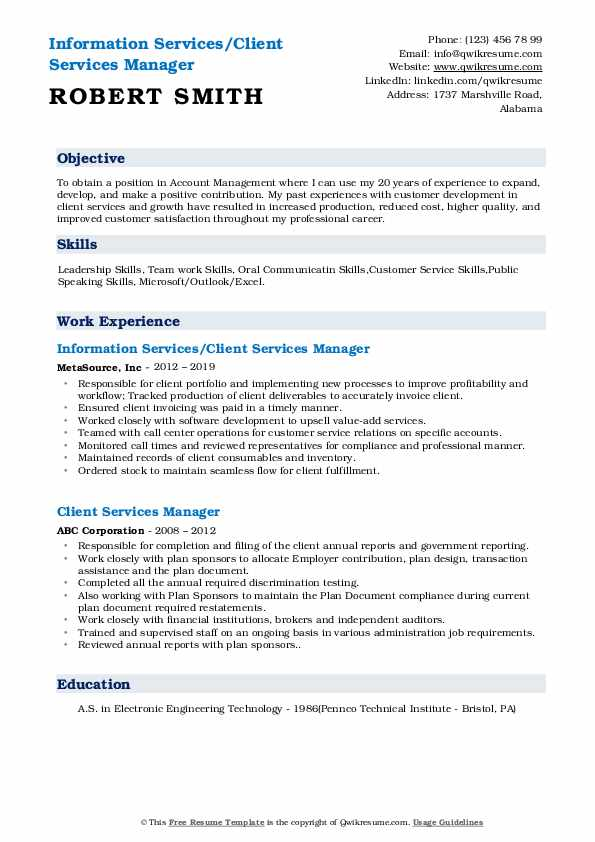 Information Services/Client Services Manager Resume Sample