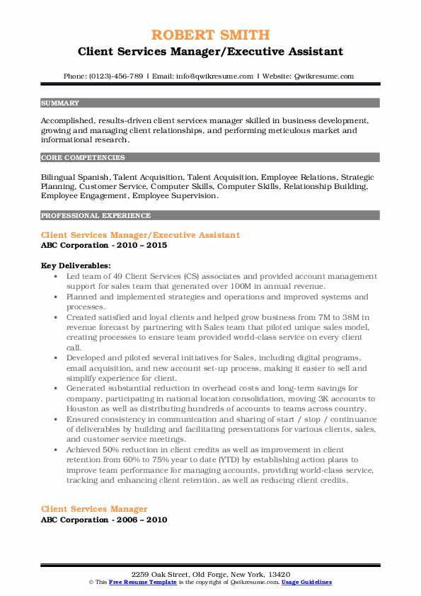 Client Services Manager/Executive Assistant Resume Format