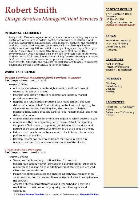 Design Services Manager/Client Services Manager Resume Template