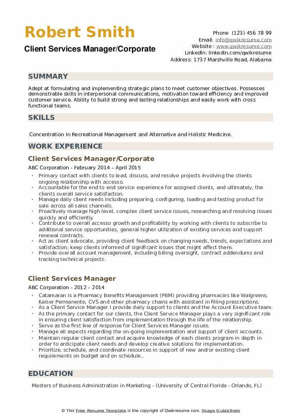 Client Services Manager/Corporate Resume Template