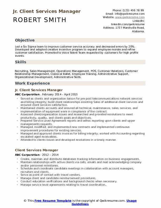 Jr. Client Services Manager Resume Sample