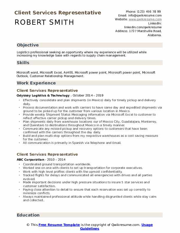 Client Services Representative Resume Example