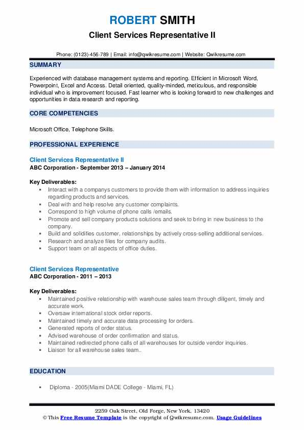Client Services Representative II Resume Sample