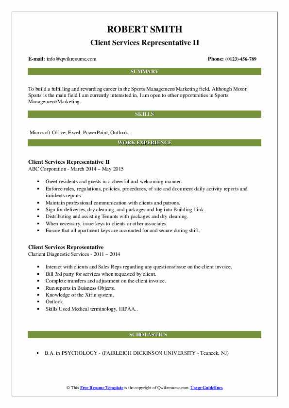 Client Services Representative II Resume Template