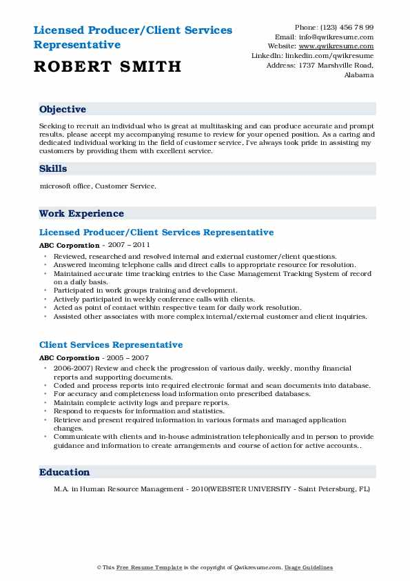 Licensed Producer/Client Services Representative Resume Sample
