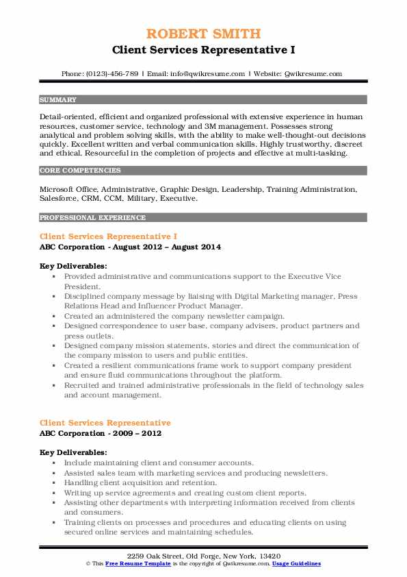 Client Services Representative I Resume Template
