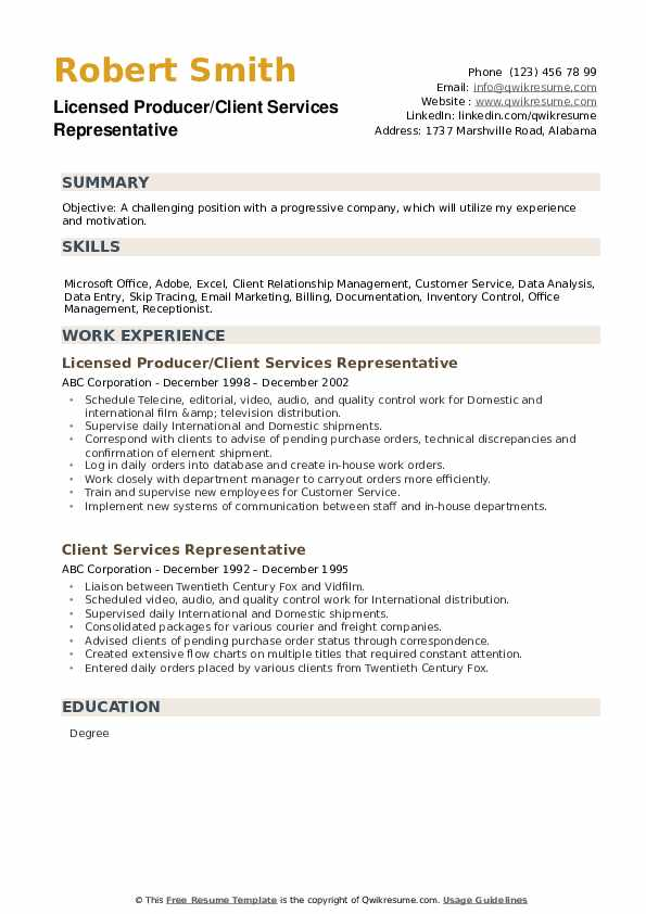 Licensed Producer/Client Services Representative Resume Example