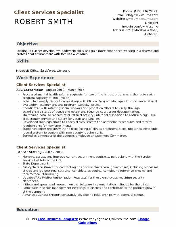Client Services Specialist Resume Format