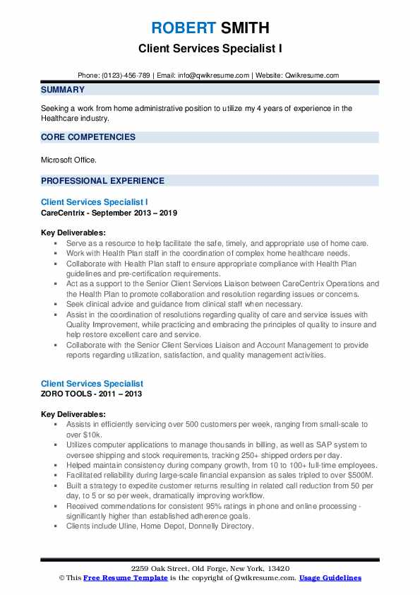 Client Services Specialist I Resume Model