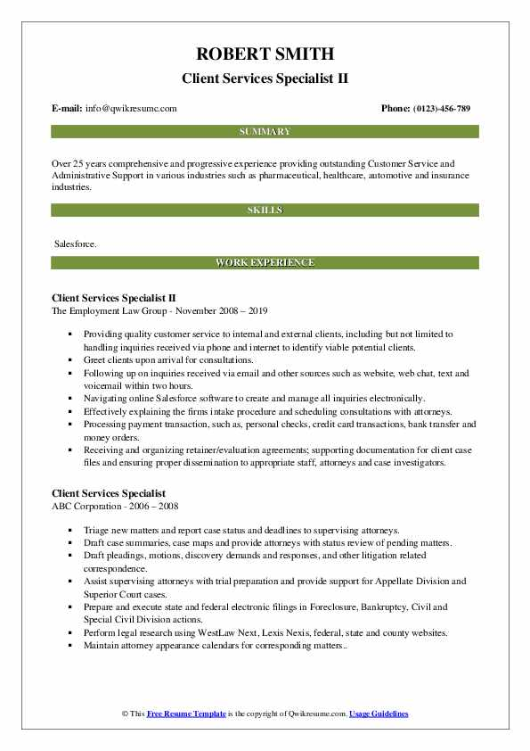 Client Services Specialist II Resume Model