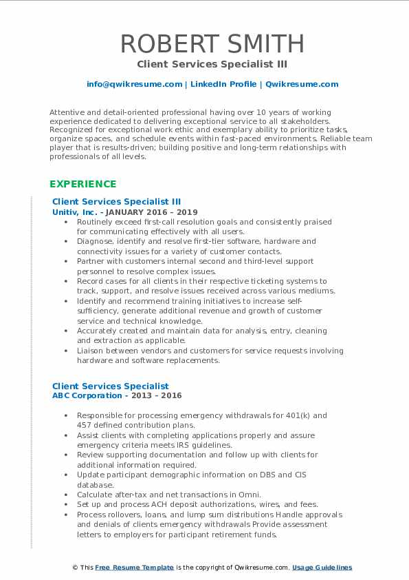 Client Services Specialist III Resume Template