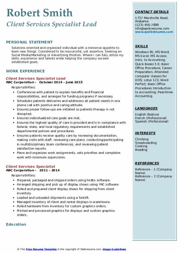 Client Services Specialist Lead Resume Example