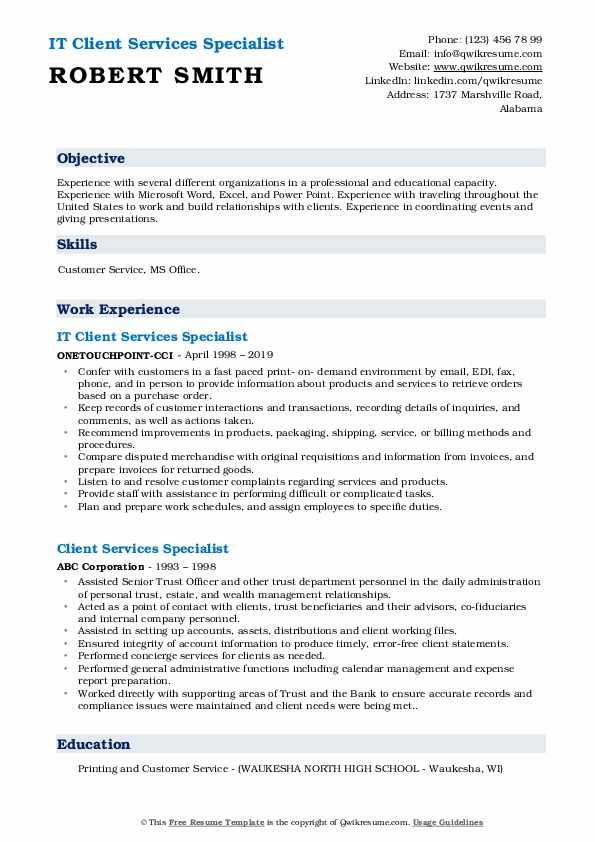 IT Client Services Specialist Resume Template