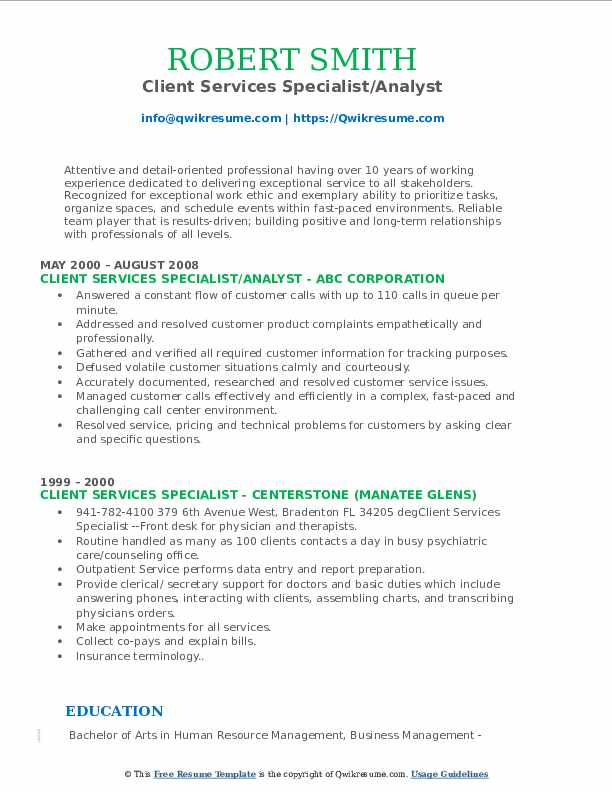 Client Services Specialist/Analyst Resume Template