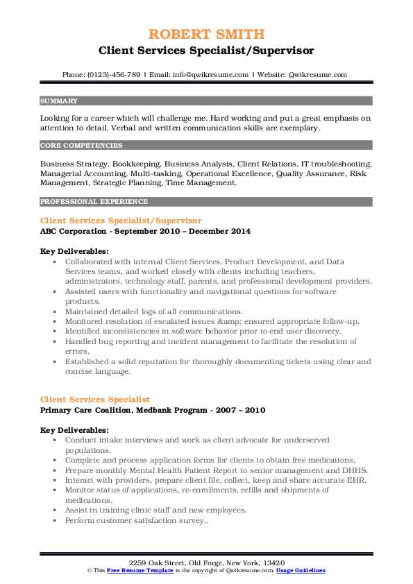 Client Services Specialist/Supervisor Resume Example
