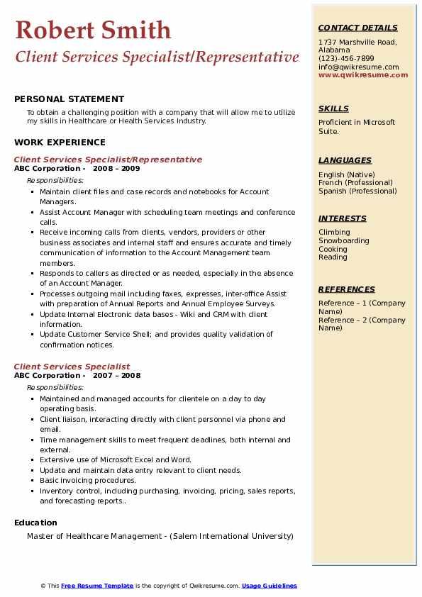 Client Services Specialist/Representative Resume Format