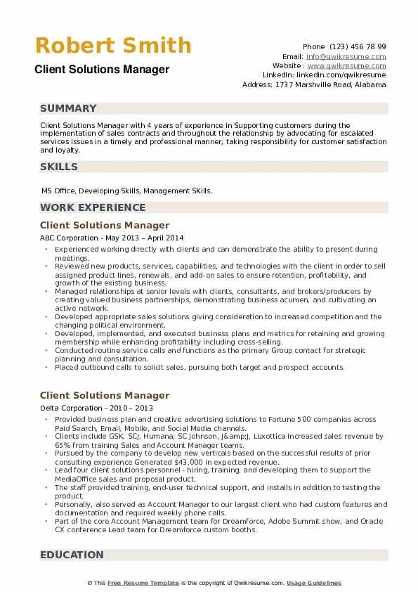 Client Solutions Manager Resume example