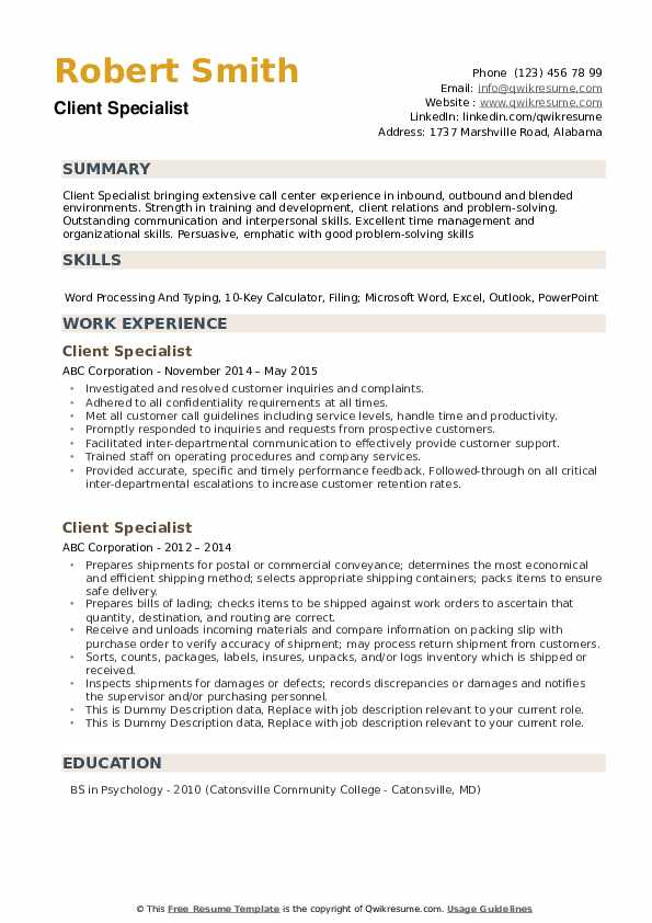 Client Specialist Resume example