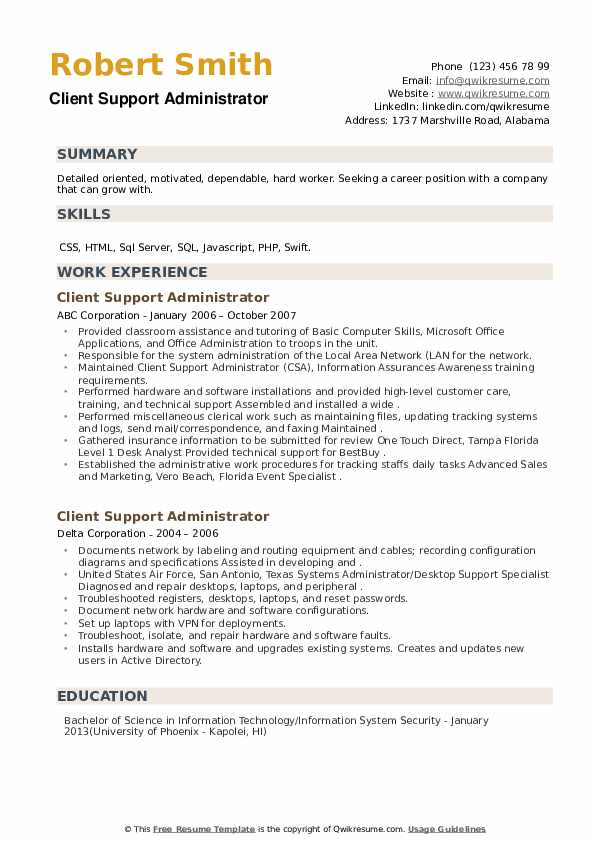 Client Support Administrator Resume example
