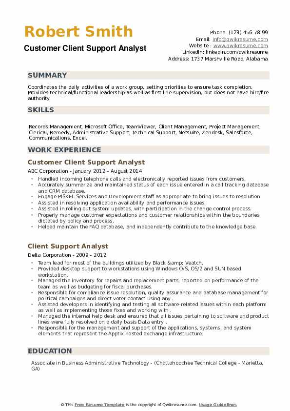 Client Support Analyst Resume example