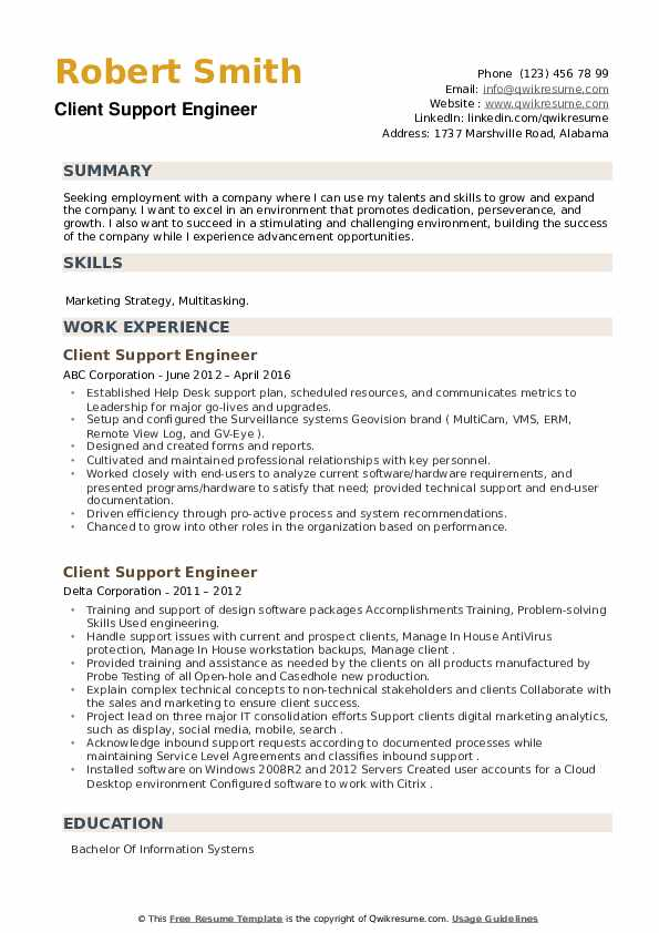 Client Support Engineer Resume example