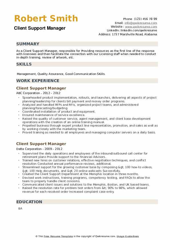 Client Support Manager Resume example