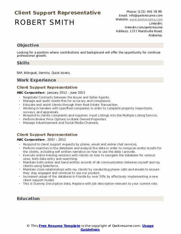 Client Support Representative Resume example